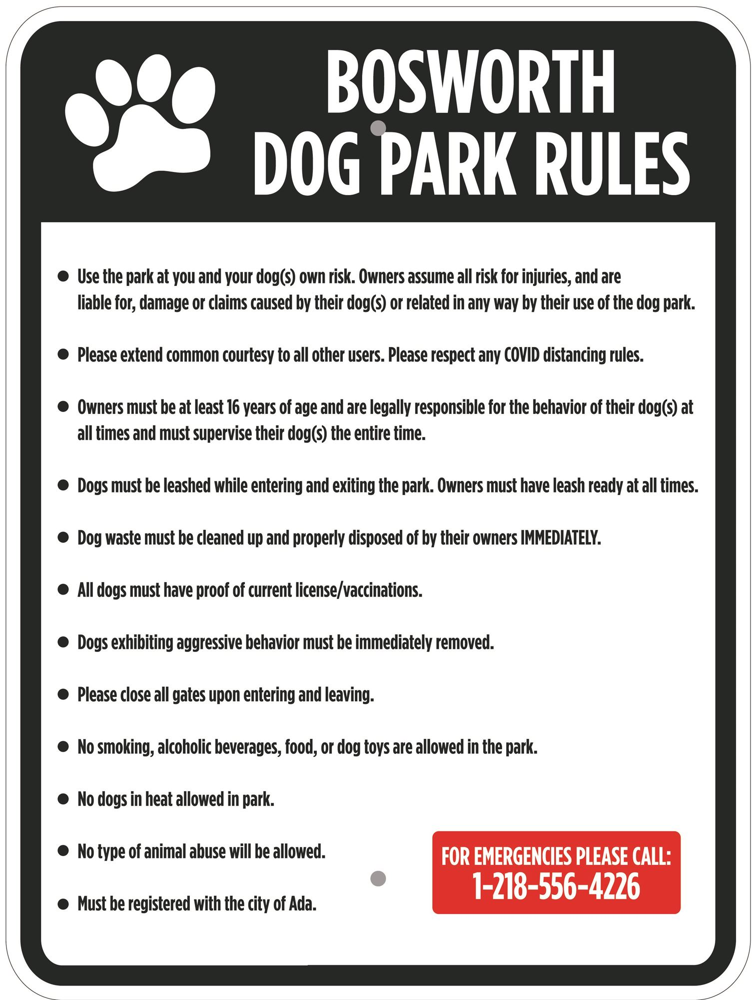 Dog Park Guidelines