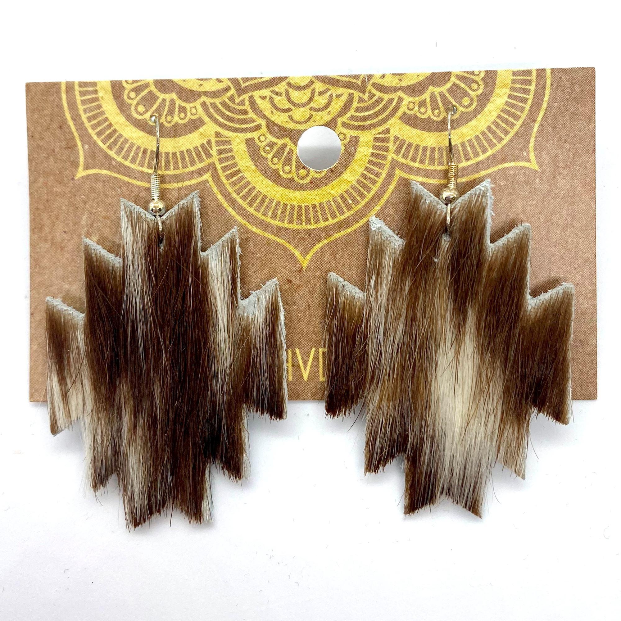 Brown & White Aztec Hair-On-Hide Earrings (1)