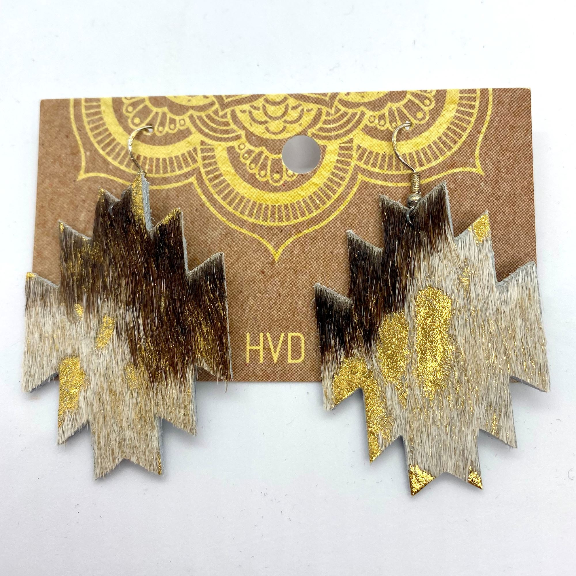 Brown & White Aztec Hair-On-Hide Earrings with Gold Foil