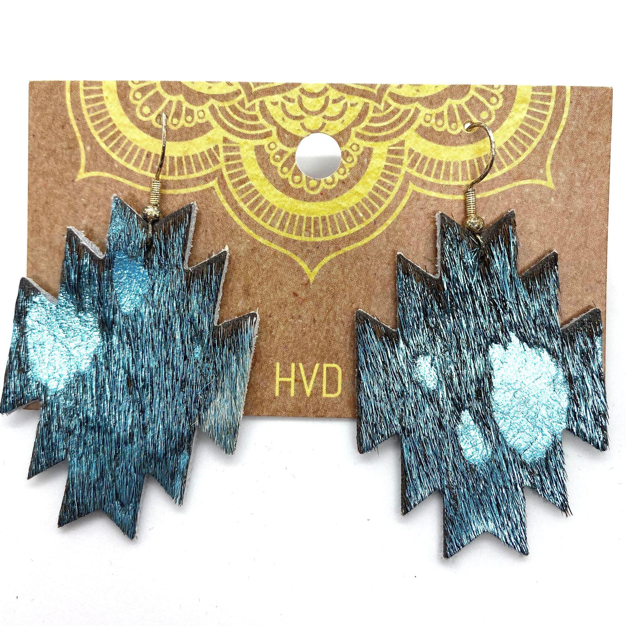 Turquoise Hair-On-Hide Aztec Earrings
