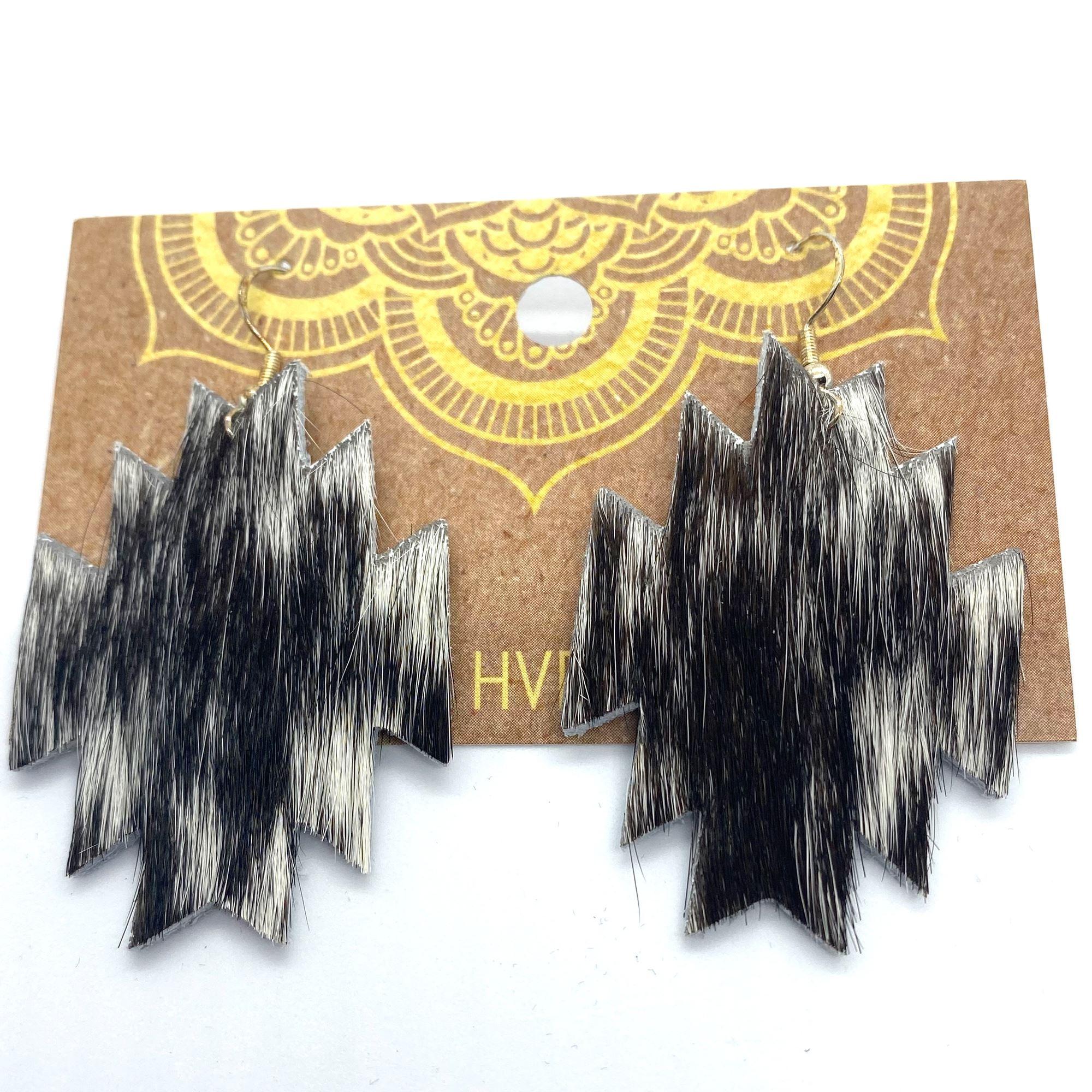 Black & White Hair-On-Hide Aztec Earrings (1)