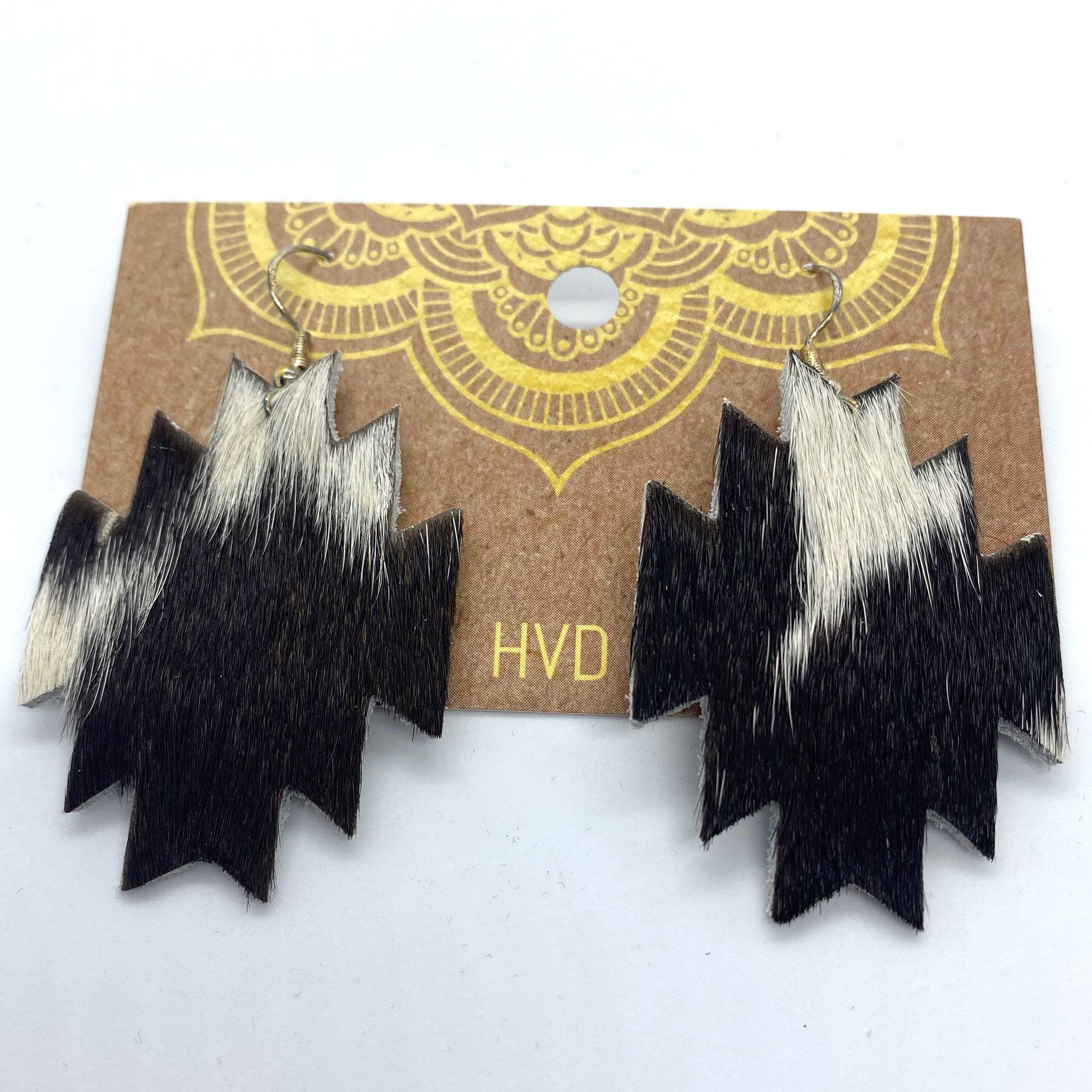 Black & White Hair-On-Hide Aztec Earrings (2)