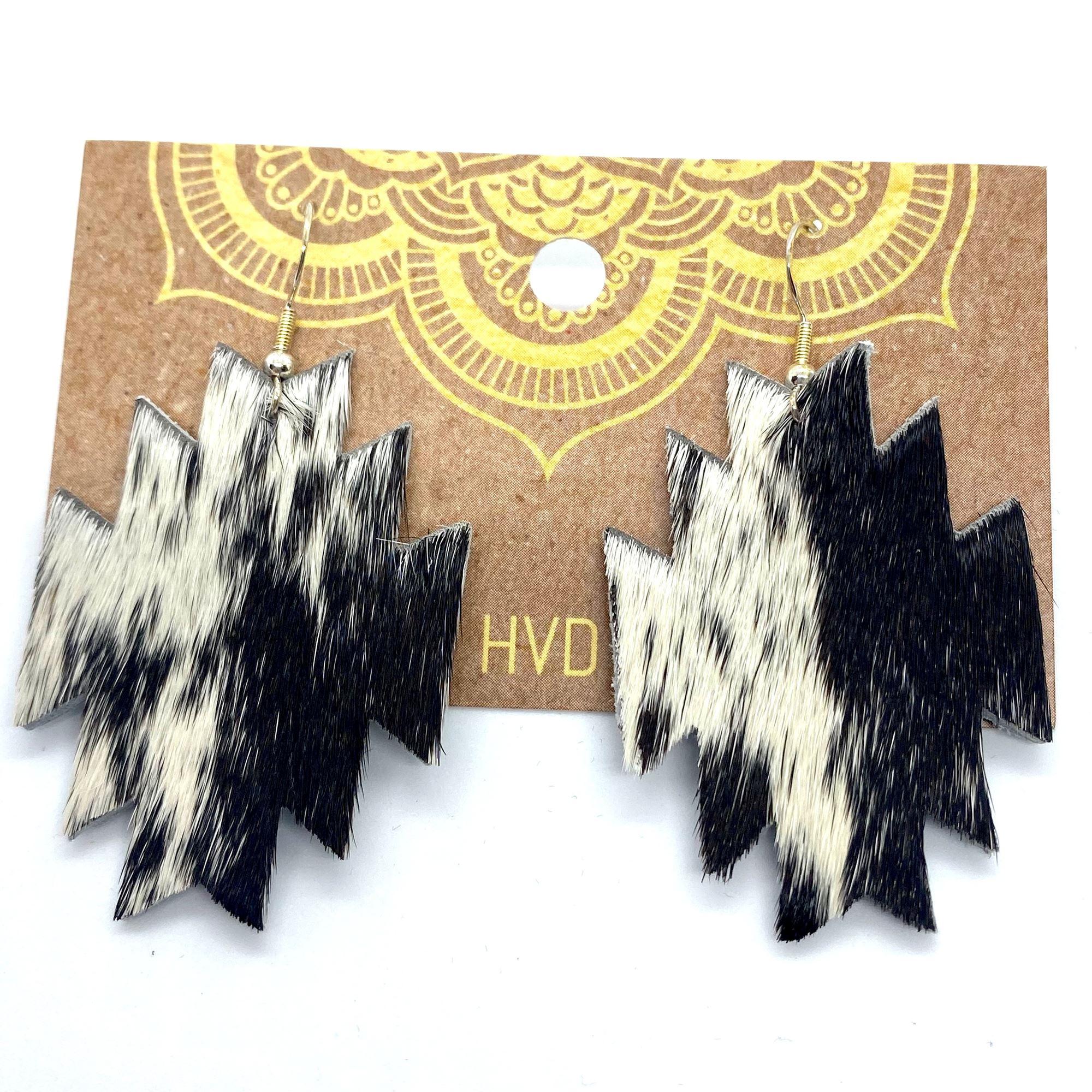 Black & White Hair-On-Hide Aztec Earrings (3)