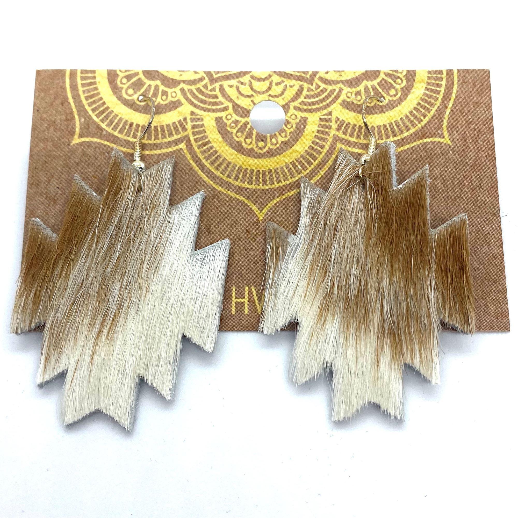 Tan & White Hair-On-Hide Aztec Earrings