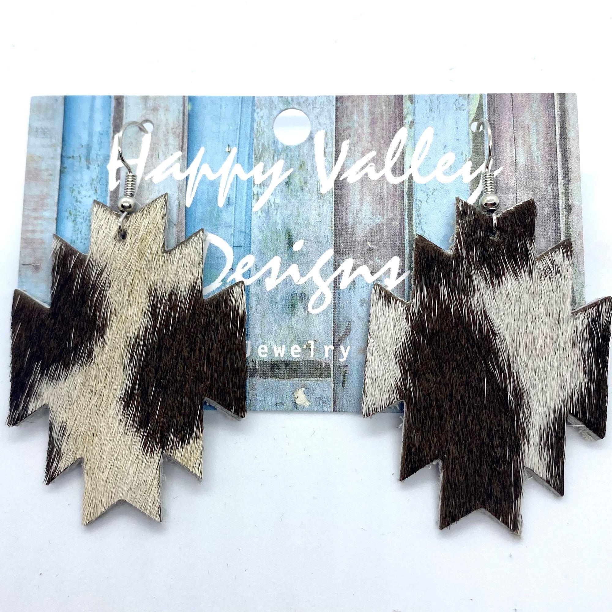Dark Brown & White Hair-On-Hide Aztec Earrings (2)