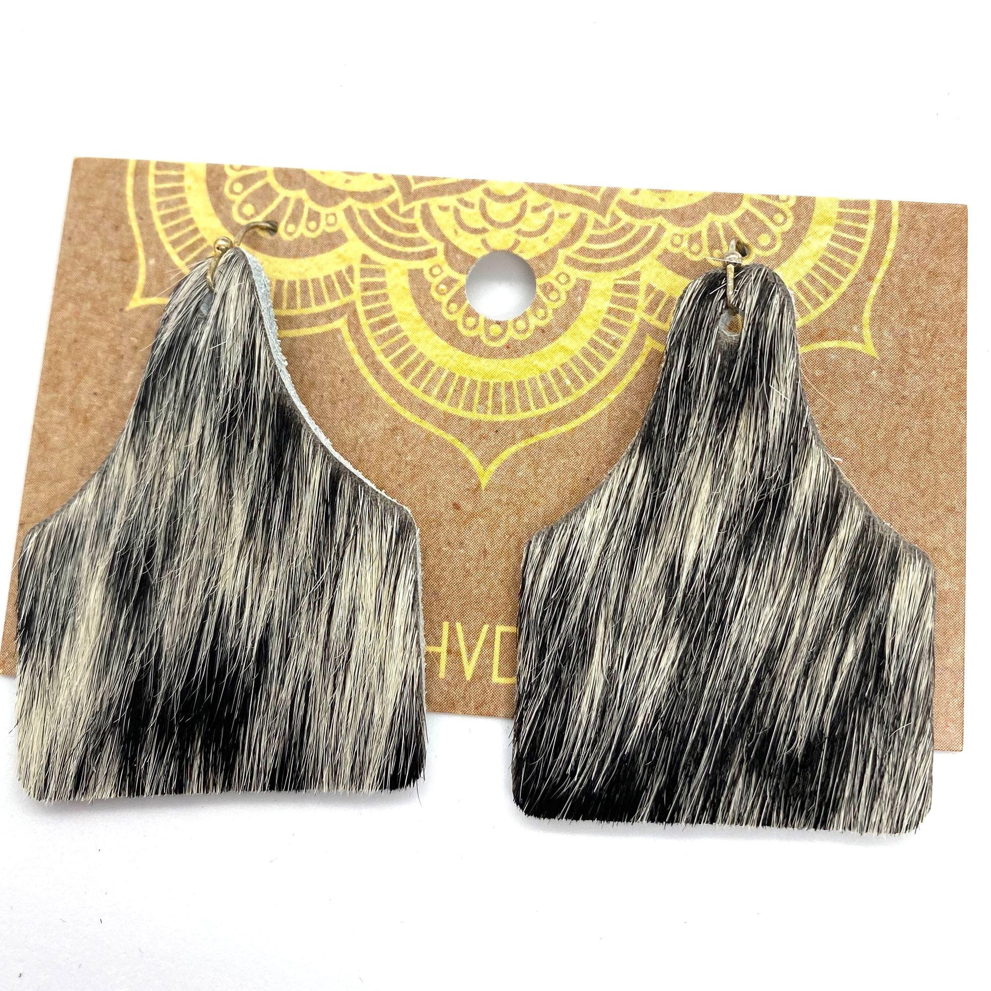 Black & White Hair-On-Hide Tag Earrings (3)