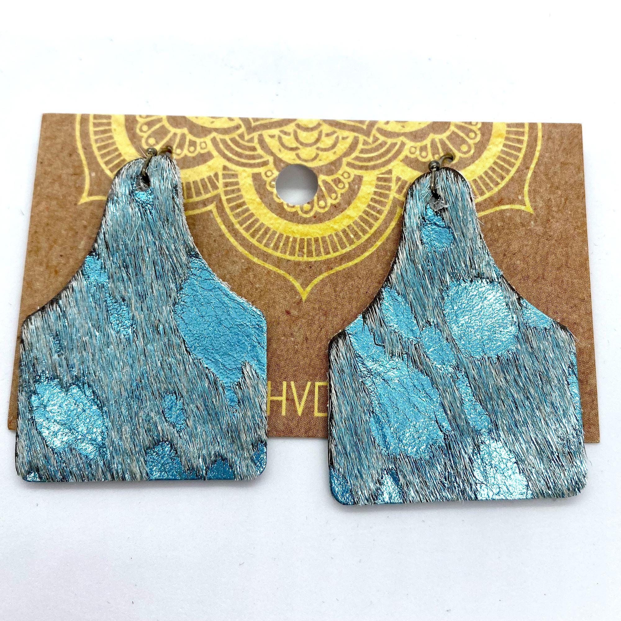 Turquoise & Foil Hair-On-Hide Tag Earrings (2)