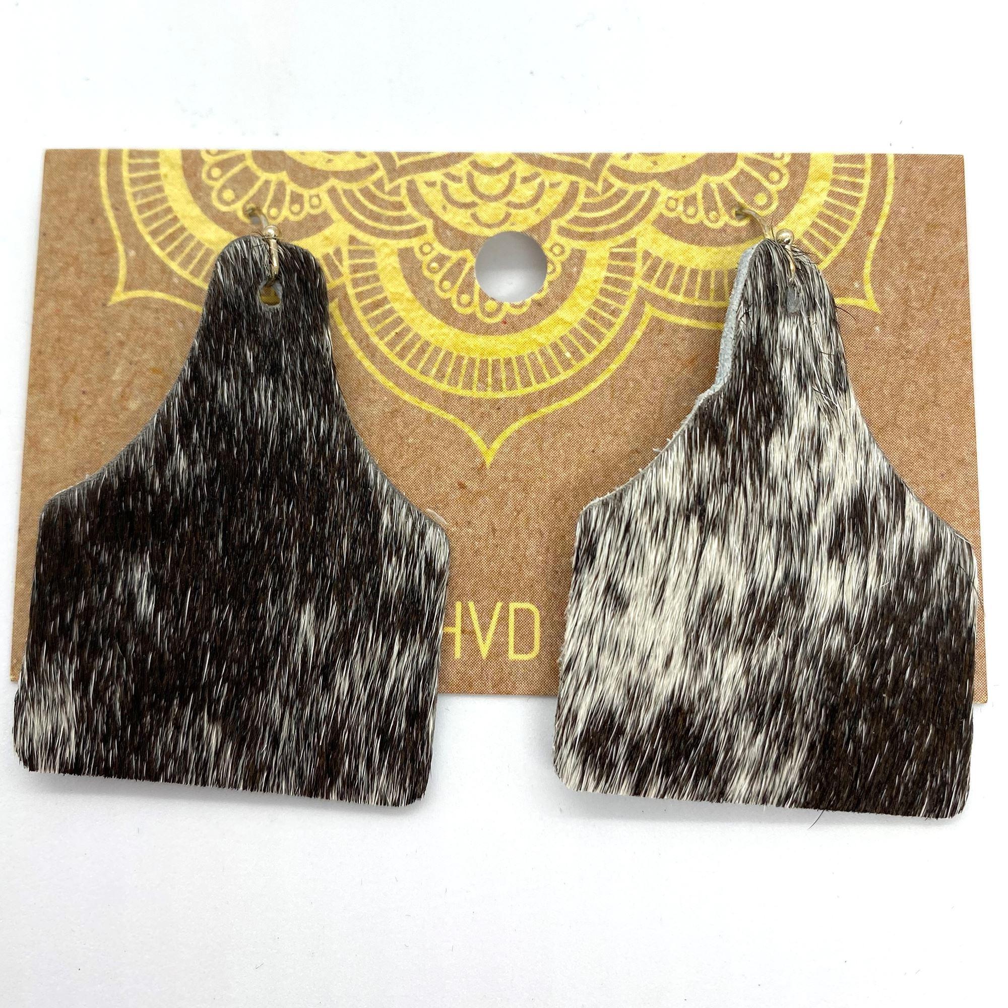 Black & White Hair-On-Hide Tag Earrings (4)