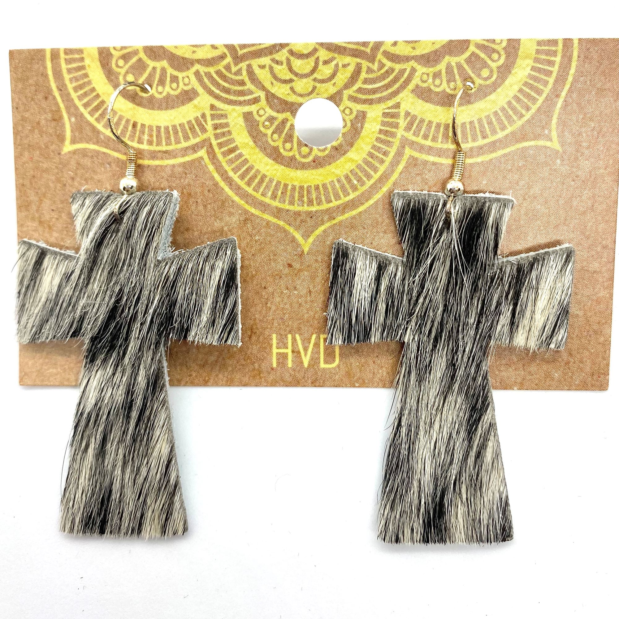 Black & White Hair-On-Hide Cross Earrings (1)