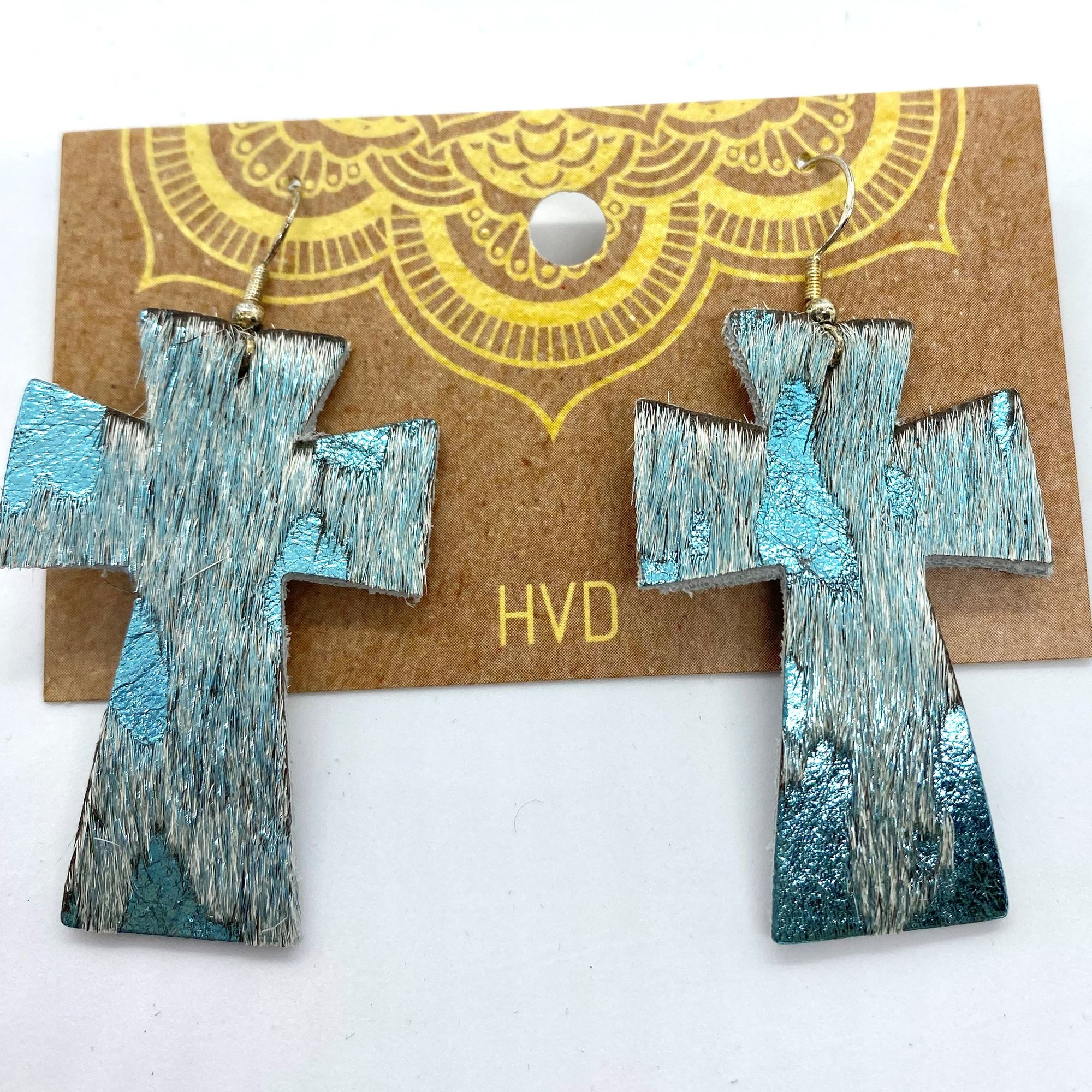 Turquoise with Foil Hair-On-Hide Cross Earrings