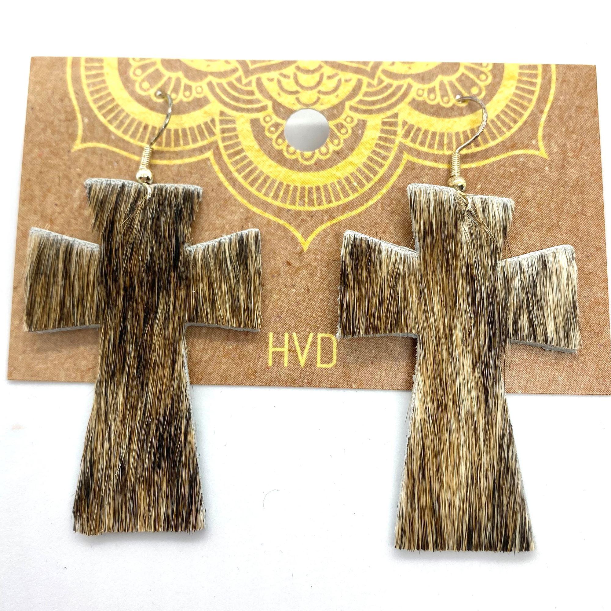 Brindle Hair-On-Hide Cross Earrings