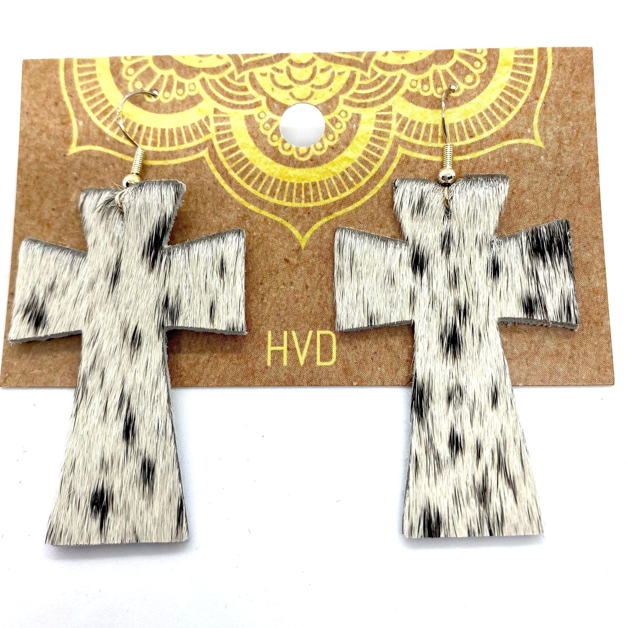 Black & White Hair-On-Hide Cross Earrings (2)