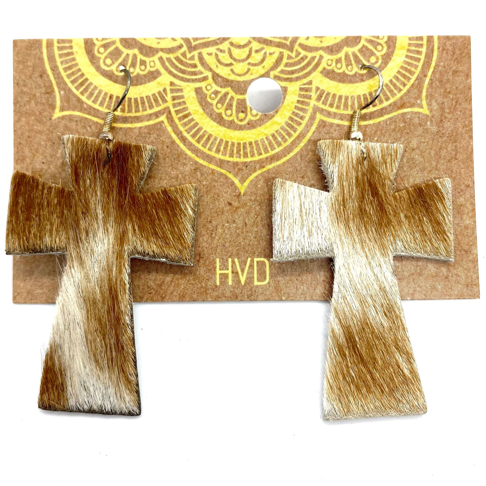 Tan & White Hair-On-Hide Cross Earrings