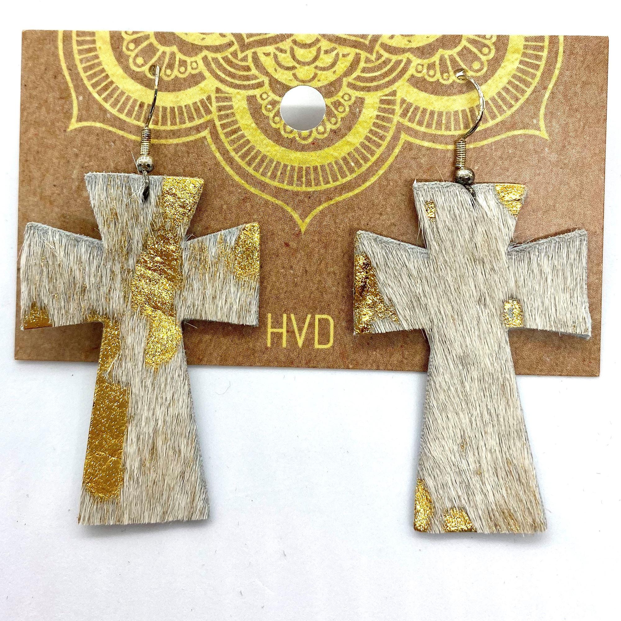 Cream with Gold Foil  Hair-On-Hide Cross Earrings (1)