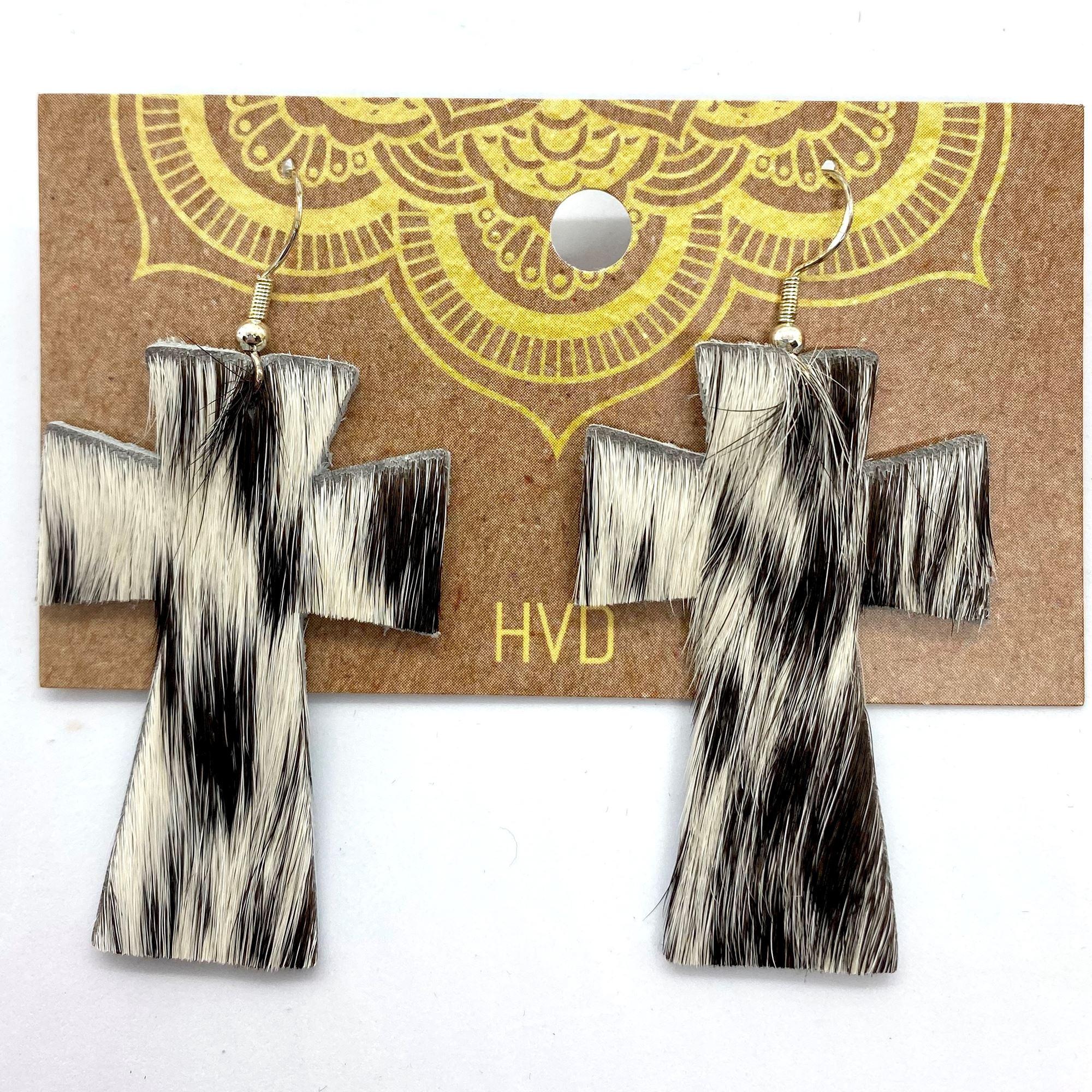 Black & White Hair-On-Hide Cross Earrings (3)