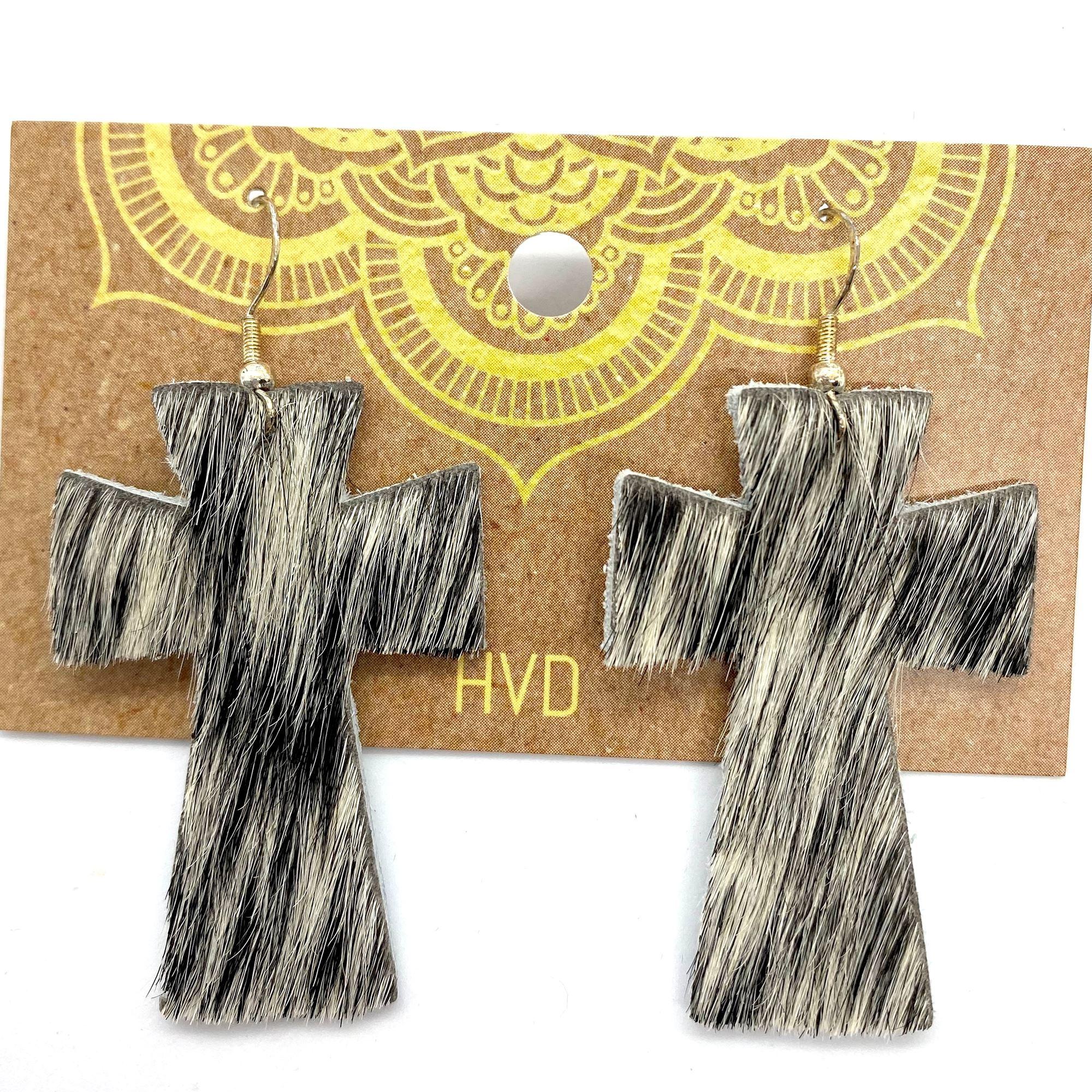 Black & White Hair-On-Hide Cross Earrings (4)
