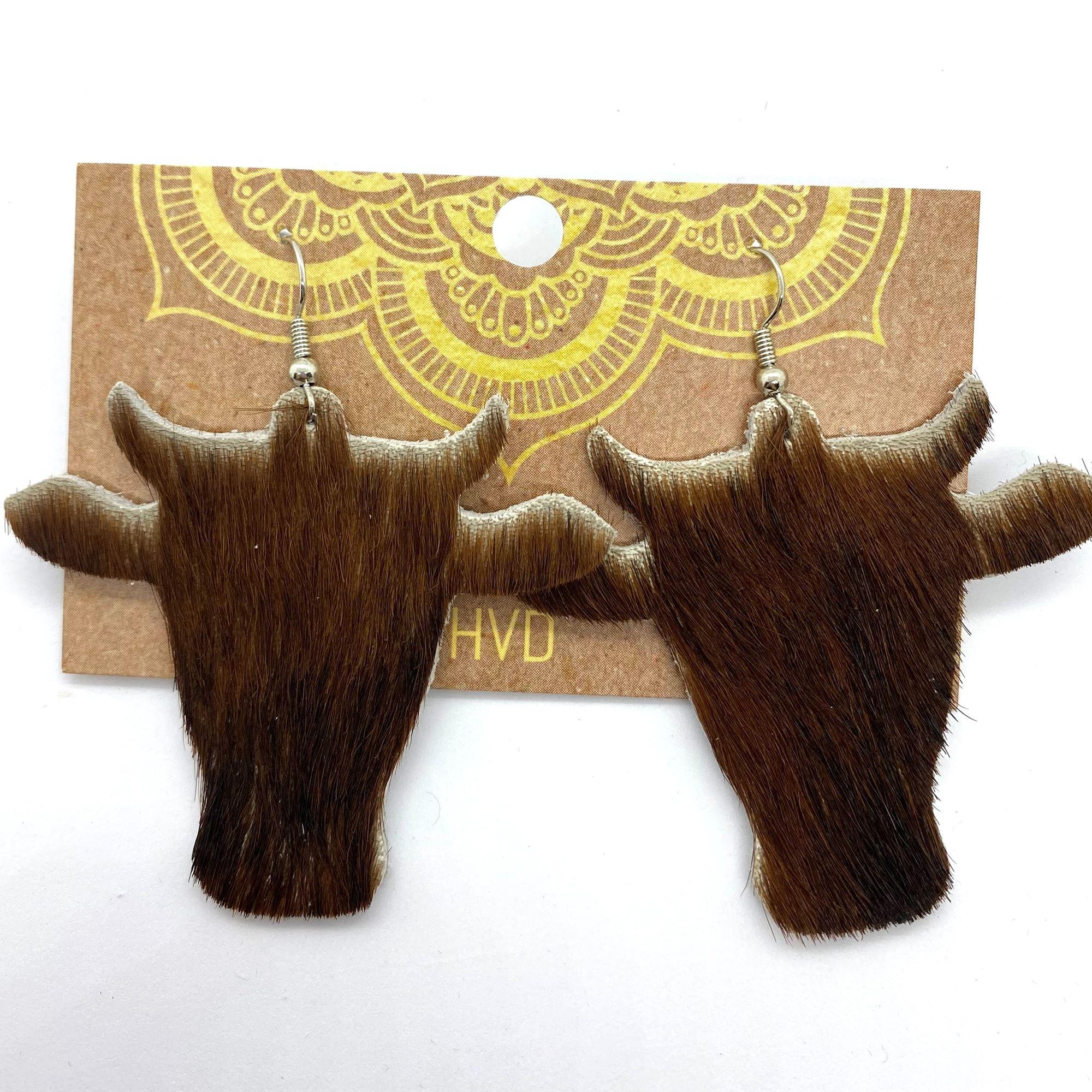 Brown Hair-On-Hide Cow Head Earrings