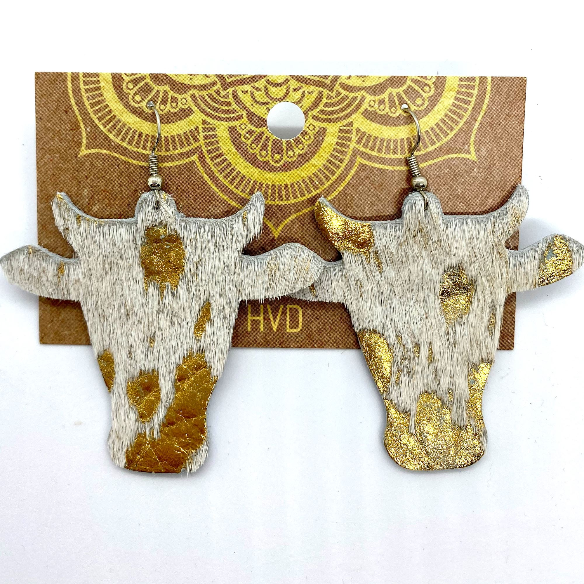 Cream with Gold Foil Hair-On-Hide Cow Head Earrings (2)