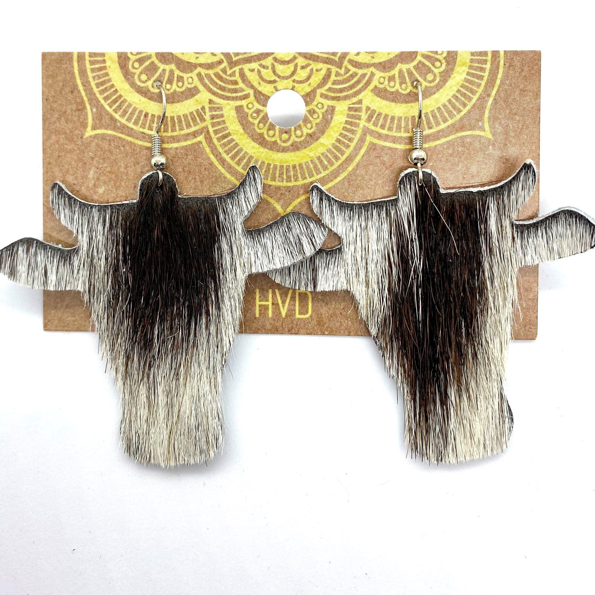 Dark Brown Hair-On-Hide Cow Head Earrings (1)
