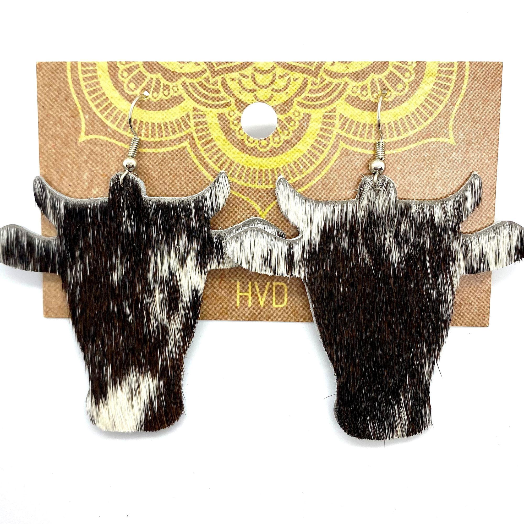 Dark Brown Hair-On-Hide Cow Head Earrings (2)
