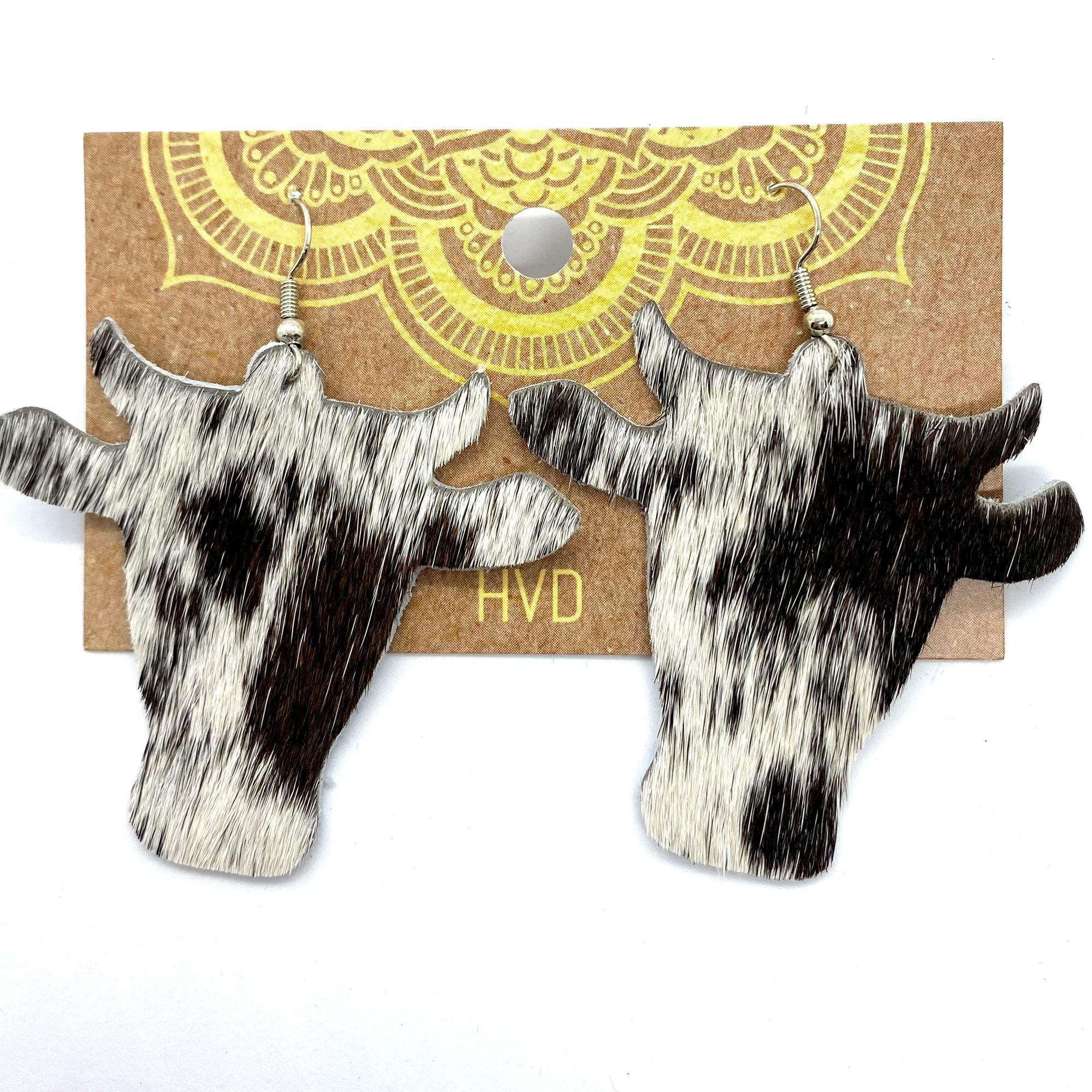 Black & White Hair-On-Hide Cow Head Earrings (2)