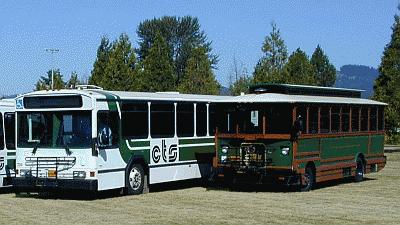 Corvallis Transit bus and trolley