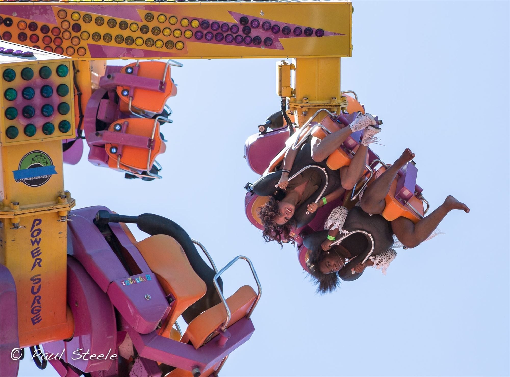 Riders on a carnival ride