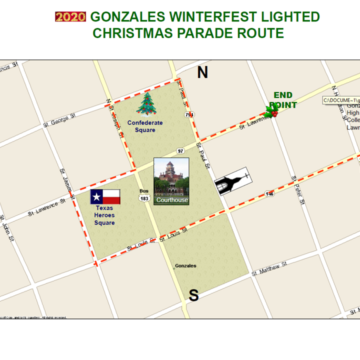 Gonzales Christmas Parade 2021 Route