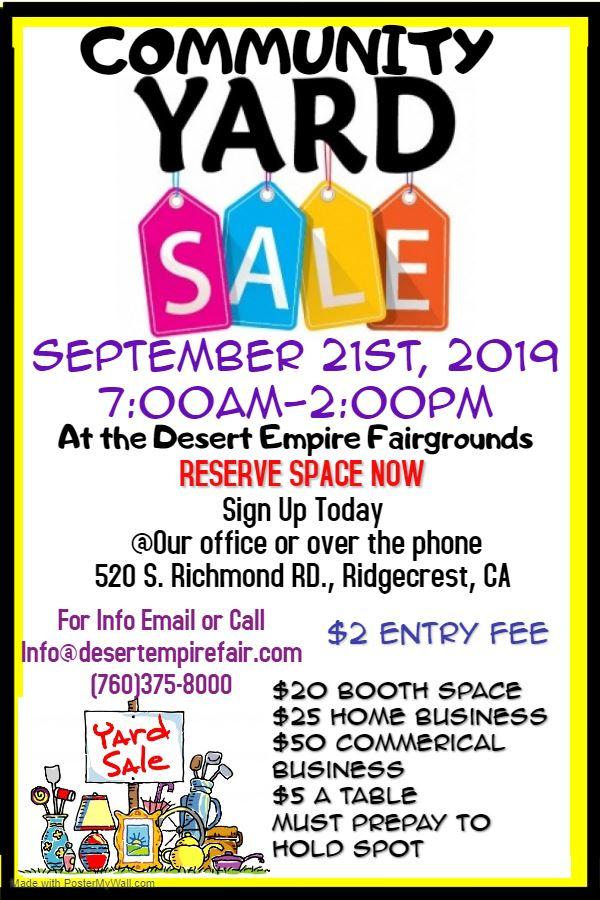September 21st: Community Yard Sale