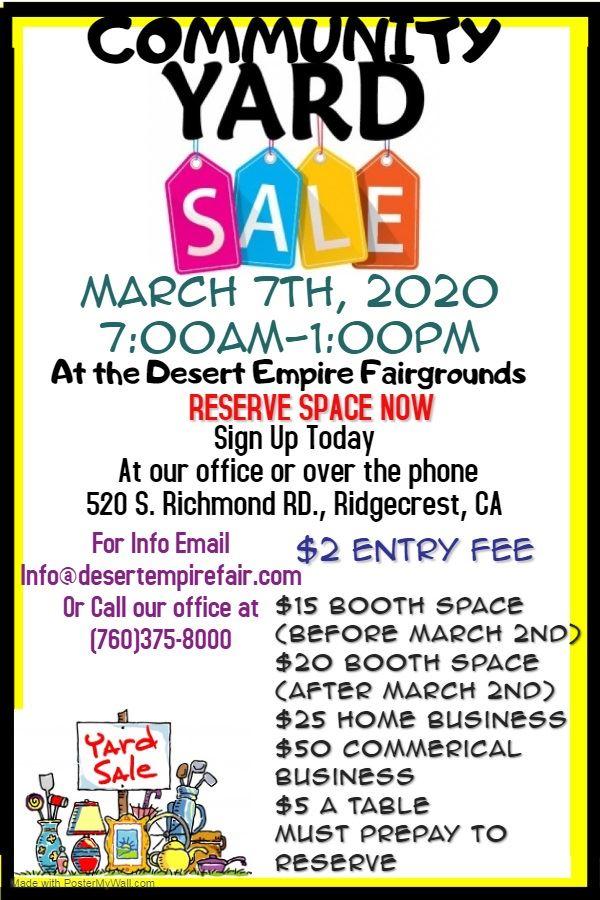 Mar. 7th: Community Yard Sale