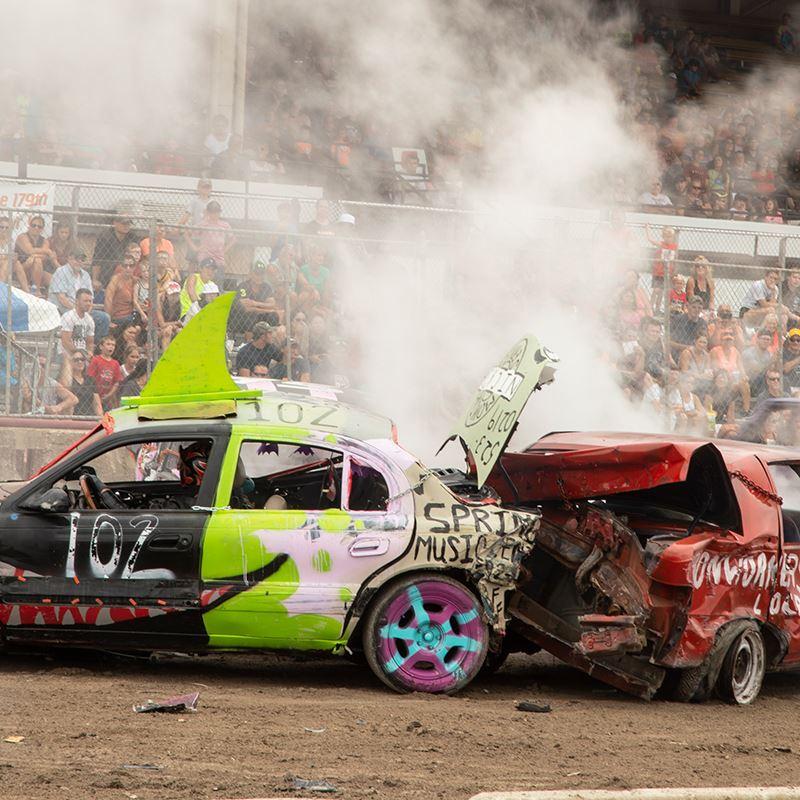 Cars smashing together