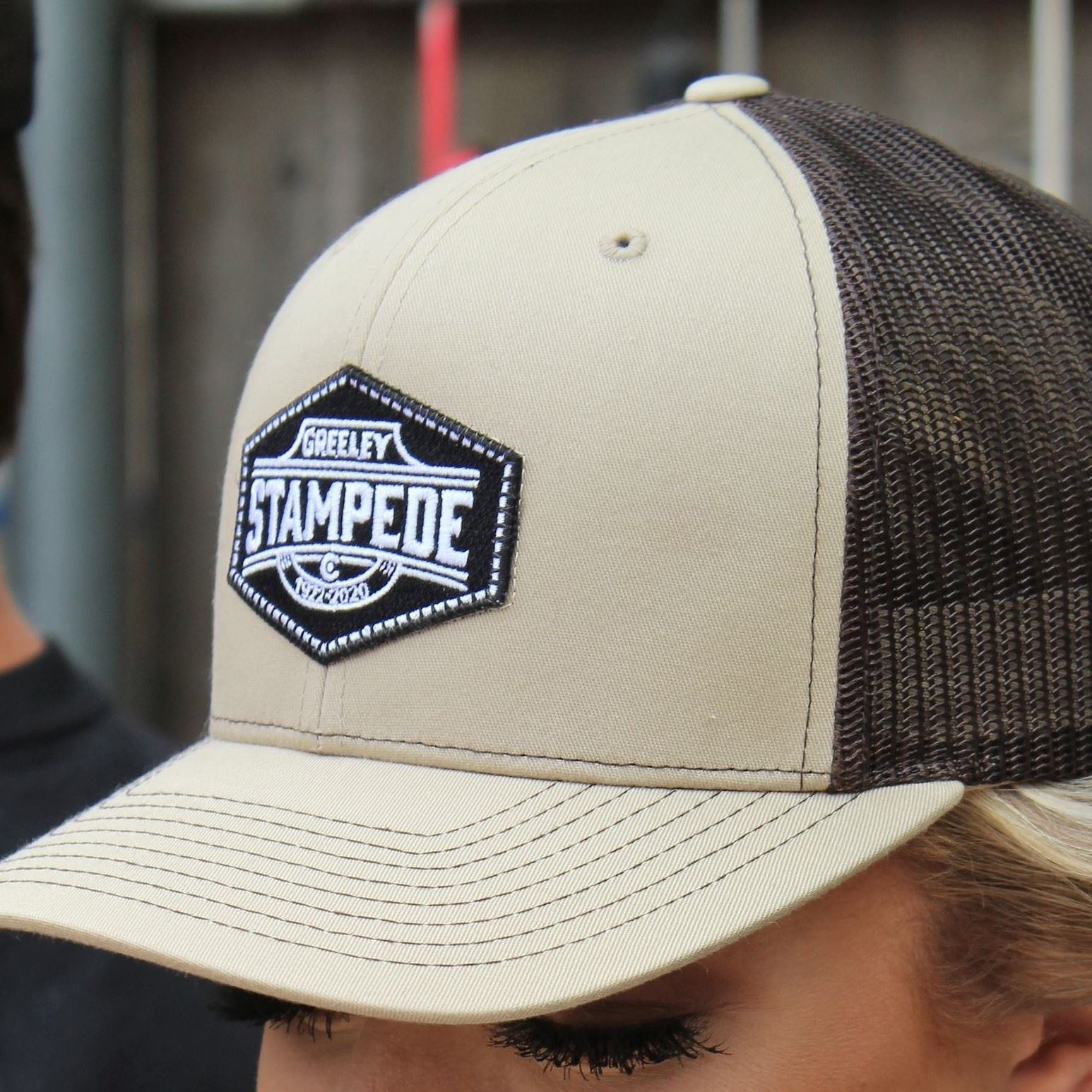 Tan with Black Patch Hat