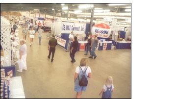 People waling in trade show