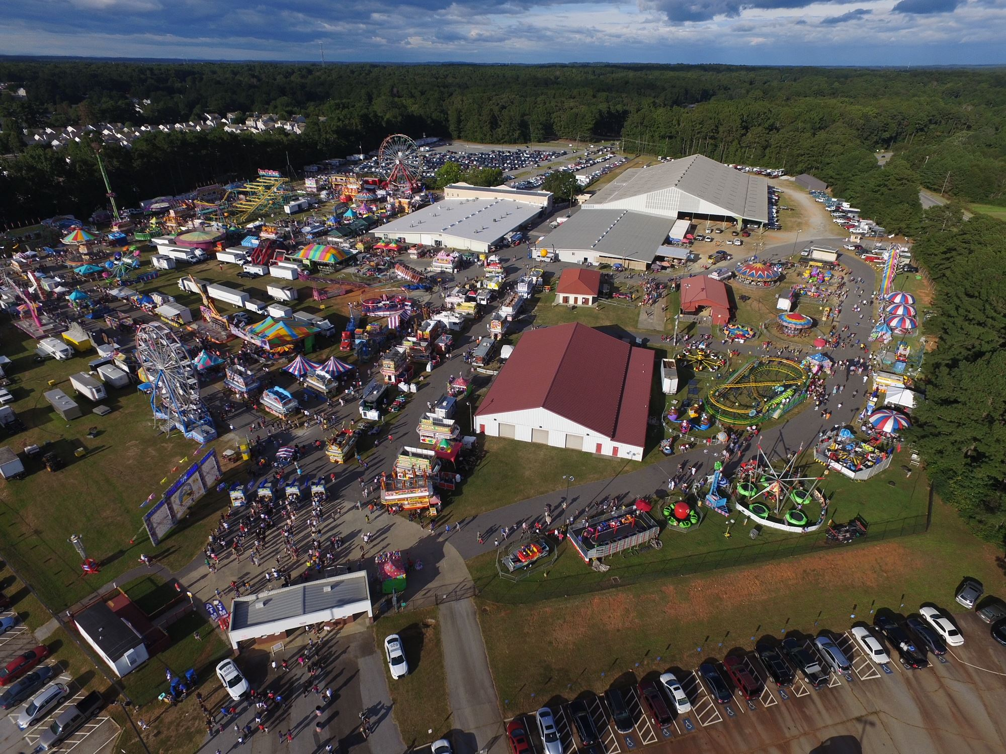 Drone shot of fair from 500 feet up