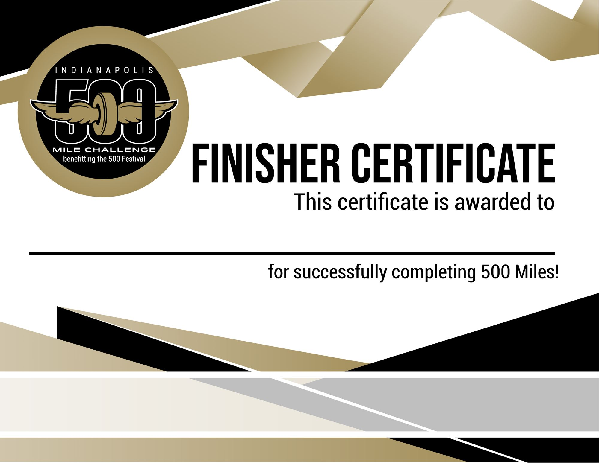 500 Mile Finisher Certificate