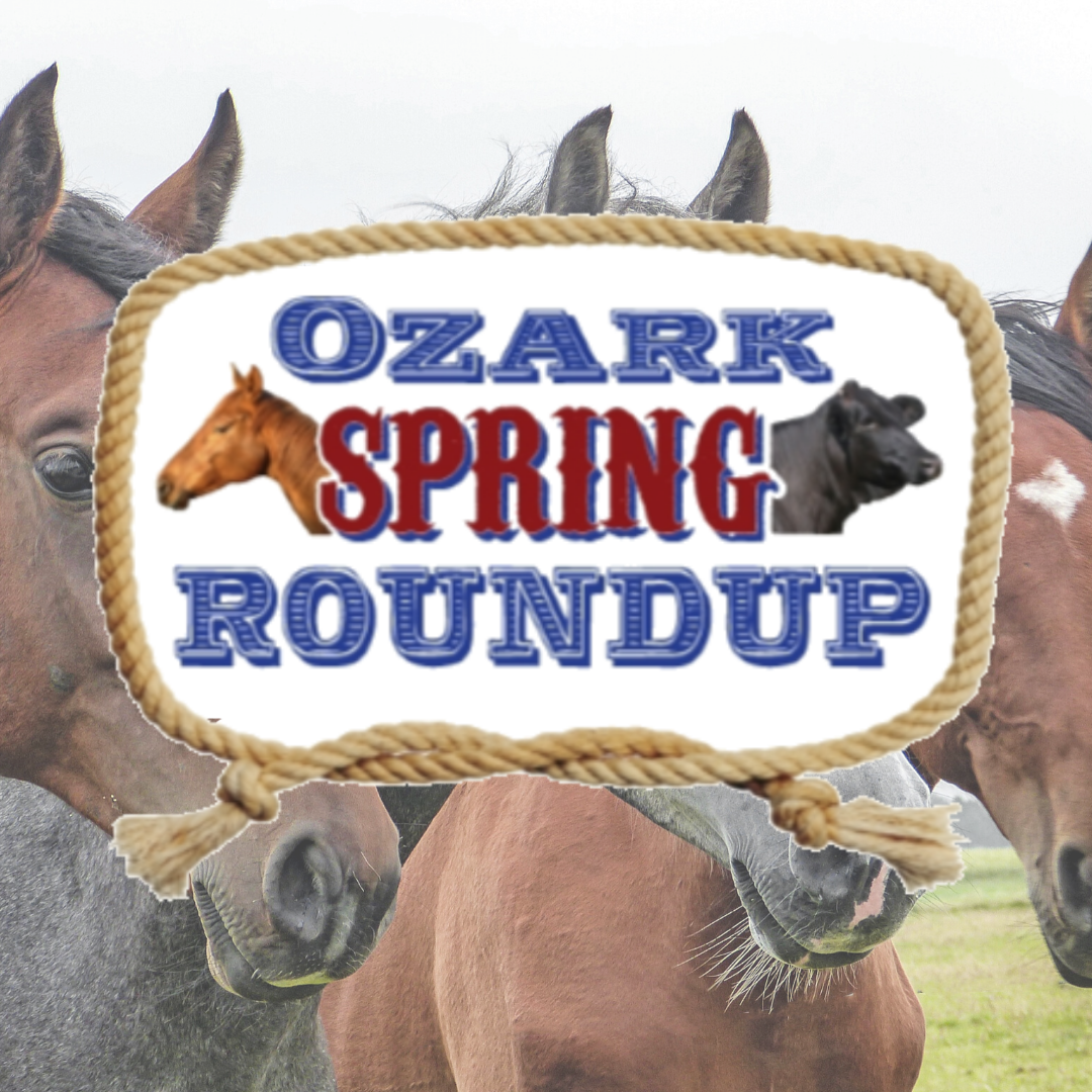 Ozark Spring Roundup logo with horses in the background