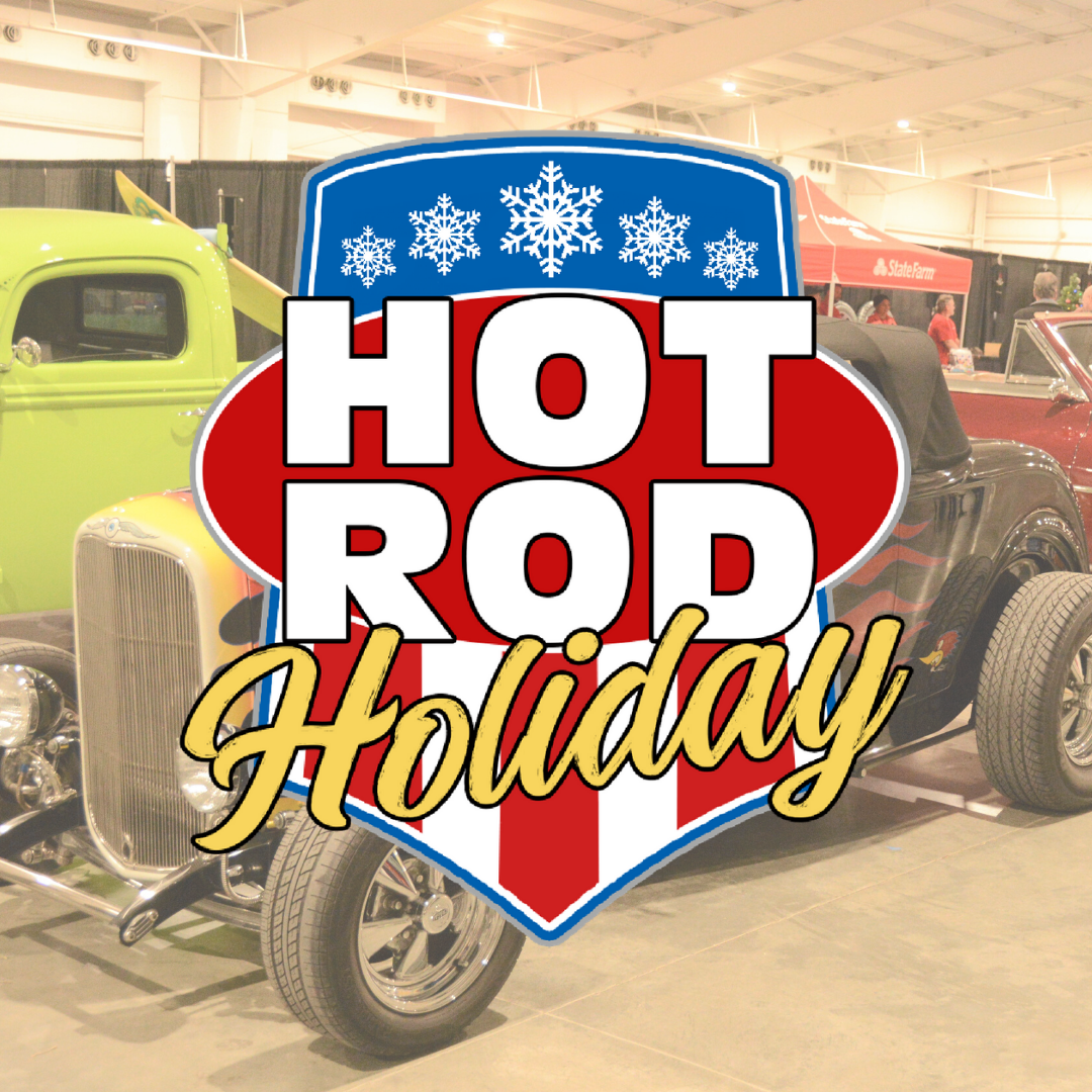 Hot Rod Holiday logo with a roadster in the background