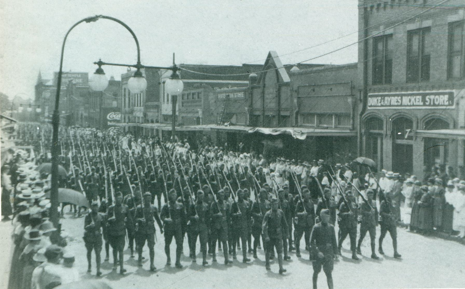 Military Parade on Spring Street - Late 1910's