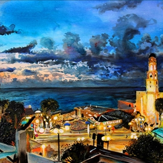 City scape with sea and sunset